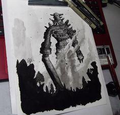Shadow of the colossus - Gaius (FanArt) by FredGuerazzi on DeviantArt Shadow Of The Colossus, Photoshop Cs5, Bioshock, Drawing S, Concept Art, Fanart, Batman, Deviantart, Superhero