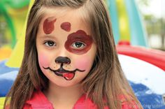 "Puppy love! Put the ""wow"" in ""bow wow"" with non-toxic face paint! We used a brush to apply the tail-wagging details. Love the rin-tin-rosy cheeks? We created the subtle blush with water-activated paint and a makeup sponge"