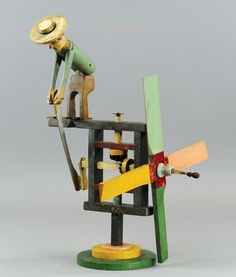 Functional man-turning-lever whirligig, circa 1920s,