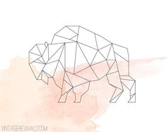 Geometric Bison. DIY String Art for Ellis' Room?? I think yes