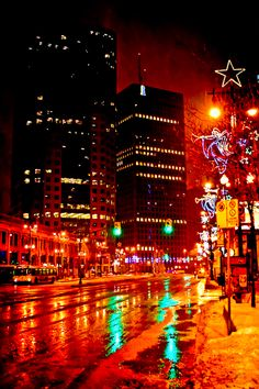 Portage and Main at Christmas - Winnipeg - Image by Carla Dyck Canada Eh, Canada North, Ontario, City Lights At Night, Western Canada, Canada Travel, Christmas Lights, Xmas, Amazing Nature