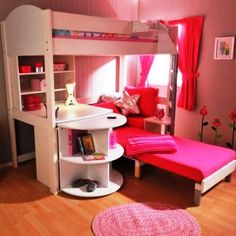 girls bunk beds with stairs and desk | Kids bunk bed with desk, children's bedroom design with bunk beds ...