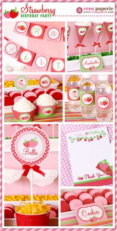 Strawberry Birthday Party  DIY PRINTABLE.  Read our strawberry blog post at: http://partystock.ca/blog/a-strawberry-themed-first-birthday/
