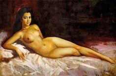 Basoeki Abdullah (Solo, 1915 – Jakarta, 1993) -  Reclining Nude.