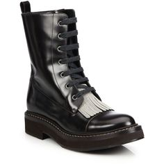 Brunello Cucinelli Leather Fringe Combat Boots ($2,220) ❤ liked on Polyvore