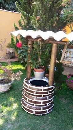 Tire Garden, Garden Yard Ideas, Diy Garden Projects, Garden Crafts, Diy Garden Decor, Garden Art, Ponds Backyard, Backyard Landscaping, Tire Art