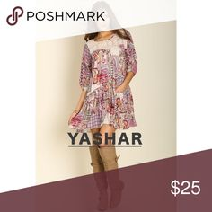 Cool and Fresh Paisley Print Peasant Dress This paisley print peasant mini dress can also be worn as a tunic top. It has lace detail in front and at the back. It has a slip pocket where you can place small items. It is round neck and with elbow-length sleeves Dresses