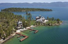 24-acre privet island called Shelter Island in Montana's Flathead Lake. The main house is 24,000 sqft. $78,000,000