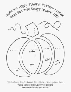 Cute pattern for a pumpkin—use on a T-shirt String Art Templates, String Art Patterns, Applique Templates, Applique Patterns, Mug Rug Patterns, Quilt Patterns Free, Moldes Halloween, Halloween Crafts, Wool Embroidery