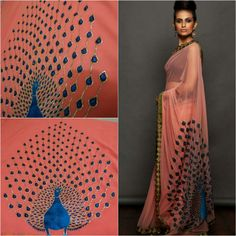 This pink georgette saree features thread and zari work peacock on pallu and pearl work detailling on border. It comes with unstitched sleeveless blouse. Title : Onion pink georgette sari. Size : Free Color : Peach Fabric : Georgette Type : Embroidered Occasion : Festive, Wedding, Ceremony, Party Neck Type : Round Neck Sleeve Type : Sleeveless Sale Price : 2300 INR Only ! #Booknow CASH ON DELIVERY Available In India ! World Wide Shipping ! ✈ For orders / enquiry Wh..