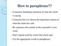 Paraphrasing in counselling mla 8