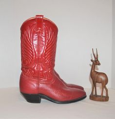 Red Cowboy Boots, Red Leather Boots, Vintage Trends, Vintage Boots, Top Stitching, Rockabilly, Toe, Fresh, Traditional