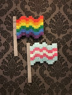 Mini Perler Bead Flag Pin - Excited to share this item from my shop: Mini Perler Bead Flag Pin - Easy Perler Bead Patterns, Melty Bead Patterns, Perler Bead Templates, Beading Patterns, Melty Beads Ideas, Melty Bead Designs, Perler Bead Designs, Hama Beads Design, Kandi Patterns