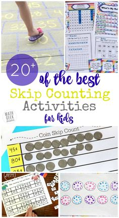 Looking for fun, new and unique ways to practice skip counting with your kids? Find hands on ideas, simple games, printables books and more! Skip Counting Activities, Hands On Activities, Math Games, Activities For Kids, Space Activities, Elementary Math, Kindergarten Math, Math Math, Maths