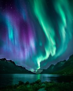 Spectacular Photos Capture the Magnetic Beauty of Norway's Natural Wonders Northern Lights - Inspiration for Dragon's Kiss, book one of the series of paranormal romances featuring shifter heroes by Natur Wallpaper, Lit Wallpaper, Beautiful Sky, Beautiful Landscapes, Beautiful Places, Beautiful Norway, Northen Lights, Ciel Nocturne, Photos Voyages
