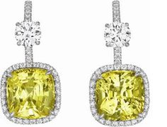 A Pair of Yellow Sapphire and Diamond Ear Pendants