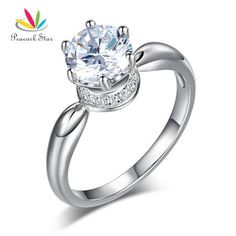 Peacock Star 6 Claws Crown 925 Sterling Silver Wedding Promise Ring 1.25 Ct  Diamond