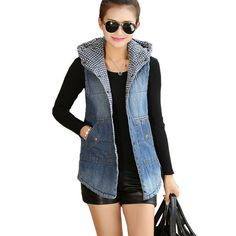 2016 New Women Hooded Waistcoat Autumn Winter Fashion Thick Denim Vest Coat Fashion Wadded Sleeveless Jacket Chalecos Mujer Blazer Outfits Casual, Sleeveless Blazer Outfit, Sleeveless Jacket, Estilo Jeans, Vest Coat, Denim Fashion, Fashion Vest, Latest Fashion For Women, Ideias Fashion