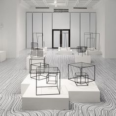 Japanese designers Nendo will draw black and white floorboards that appear to flow around plinths for their solo show at the National Taiwan Craft Research and Development Institute later this month. Designed to showcase their Thin Black Lines and Dancing Squares projects, the exhibition will be divided into two rooms - one with black drawings
