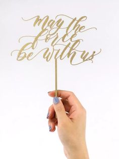 'may the force be with us' in loopy gold script Top Wedding Trends, Wedding Themes, Wedding Tips, Our Wedding, Wedding Planning, Starry Wedding, Dream Wedding, Wedding Cake Toppers, Wedding Cakes