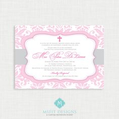 Printable Baptism Invitation- Girls Baptism Invitation - Baby Dedication, First Communion, Confirmation, Christening - Printable invitation by MsfitDesigns on Etsy