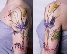 Botanical style tattoo by Amanda Wachob by lea.