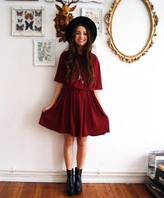 Shop The Look Oxblood dress Burgundy Dress, Dress Black, Hippie Boho, Bohemian, Look Boho Chic, Alternative Rock, Hipster, Estilo Boho, Street Style