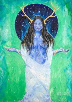 """""""Elen of the ways"""" - like many ancient Goddesses she is multifaceted.  She has been compared to Artemis, Venus, Aphrodite, Hecate, Diana, Freya, and the Fae. Art by: lauradaligan-art.com"""