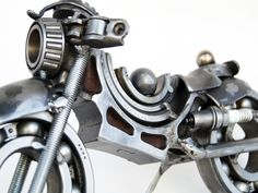 Motorcycle sculpture art for sale Industrial Artwork, Metal Artwork, Modern Art Sculpture, Motorcycle Manufacturers, Train Art, Motorcycle Art, Handmade Art, Art For Sale, Scrap