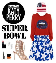 """""""Dress Katy Perry for the Super Bowl"""" by sarabear313 ❤ liked on Polyvore featuring Deetz, Markus Lupfer, Sophia Webster, Forever 21, Inglot, Kre-at Beauty, Napoleon Perdis, katyperry and superbowl"""