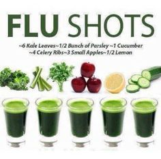 Flu Shots! Kale, Parsley, Cucumber, Celery, Apples and Lemon. #Nutrition #Clean #Health #Wellness #Homeopathic #Infographic