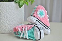 Crochet baby shoes - unique booties -baby converse -newborn gift - baby boy -baby girl - mint - pink - summer colors by JustVenera on Etsy https://www.etsy.com/listing/230671941/crochet-baby-shoes-unique-booties-baby