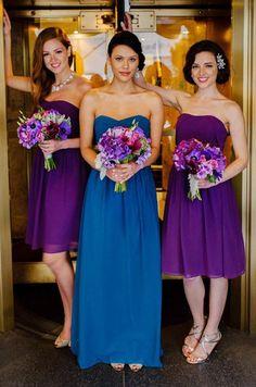 Blue Bridesmaid Dresses - Purple bridesmaids dresses and bouquets Purple Bridesmaid Dresses, Blue Bridesmaids, Wedding Bridesmaids, Bridesmaid Colours, Bridesmaid Bouquets, Blue Purple Wedding, Royal Blue Wedding Dresses, Purple And Blue, Peacock Wedding Colors