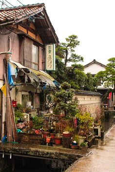 Shirakabe Dozogun [白壁土蔵群] or Utsubukitamakawa [打吹玉川] as it's officially known, a historic district of Edo period warehouses in Kurayoshi, Tottori Prefecture by sleepytako, via Flickr