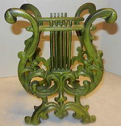 VTG Lyre Music Harp Gold Cast Metal Magazine Book Rack Stand Holder Home Décor