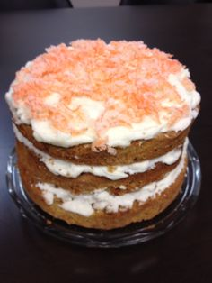 Carrot Cake with vanilla beam frosting and candied carrots