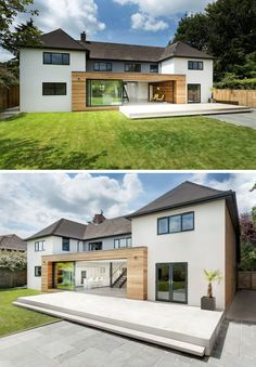 14 Examples Of British Houses With Contemporary Extensions // Light wood paneling and a sliding glass door that runs the length of the extension brightens up this British home, and connects the lower level to the large backyard. Bungalow Exterior, Modern Farmhouse Exterior, Dream House Exterior, House Extension Plans, House Extension Design, Extension Designs, Rear Extension, House With Porch, House Front