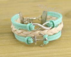 Sliver anchor bracelet and infinity bracelet green by nicegirlgift, $6.99