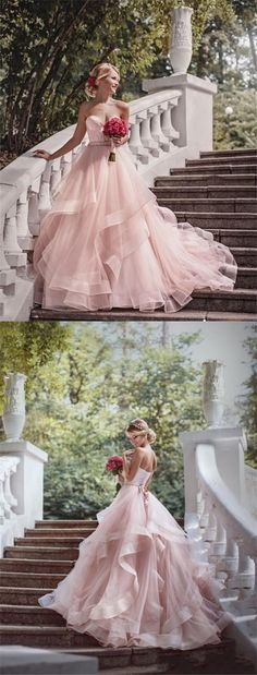 elegant sweetheart blush tiered tulle bridal dress with sash, fashion sweetheart blush tulle wedding dress with sweep train