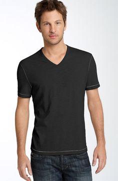John Varbatos Star USA Trim Fit Slubbed V- Neck T-Shirt