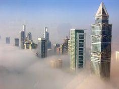 Fog at sunrise in Dubai
