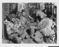 US paratroopers aboard an aircraft en route to their drop site, D-Day, World War Two, France, June 6th 1944. (Archive Photos/Getty Images)