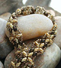 Petite Harmony Band Superduo Bracelet; Bead Weaving; Bronze Bead Bracelet; Superduo Bracelet; Band Bracelet; Superduo Beads; Bronze Beads