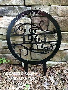Metal Address Yard Sign w/ Yard Stakes - Metal Yard Sign - Metal Address Sign - METAL ACM