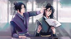 """"""" There's ink staining his slim hands, his face because he keeps pushing his bangs back. In the end, Jiang Cheng ends up holding Nie Huaisang's hair back as he finishes his fan. Manhwa, The Grandmaster, Freelance Illustrator, Cute Gay, Fujoshi, Zine, Animation, Fan Art, Drawings"""