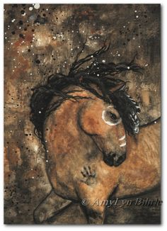 Amy Lyn Bihrle Majestic Horses 60 - Abstract Buckskin Dun Native Feathers - ArT Prints or ACEO by Bihrle