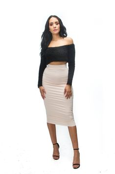 ee57d2acd6e3 The mystylemode blush double lined stretch high waisted midi skirt