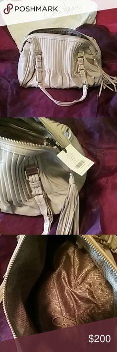 Cole Haan Cream color shoulder bag Cole Haan soft leather zip satchel.  Pumice amalfi unit.  NWT. Cole Haan Bags Satchels