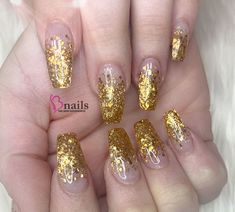 Gold Ombre acrylic nails