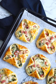 Ham, cheese, and spinach puffs.